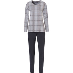 Pastunette Deluxe luxe katoen jacquard huispak / lounge pak met lange mouwen 'checkered elegance'