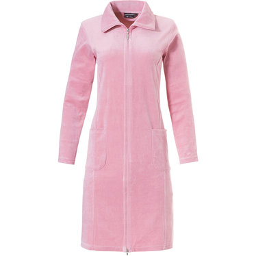 Pastunette Deluxe rose pink ladies velvet morninggown with full zip, collar and two pockets