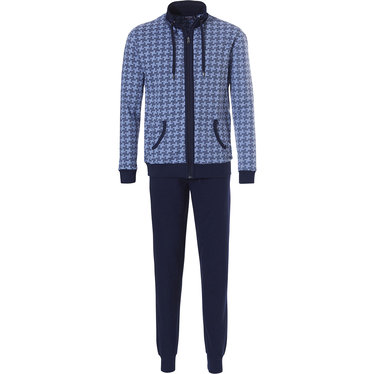 Pastunette for Men men's light blue long sleeved homesuit with full zip and cuffs 'little windmill pattern'