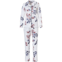 Pastunette Deluxe luxury full button satin soft long sleeve pyjama 'orchid rose boutique'