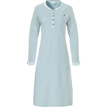 Pastunette ladies long sleeve pale turquoise cotton nightdress 'abstract snow flower'