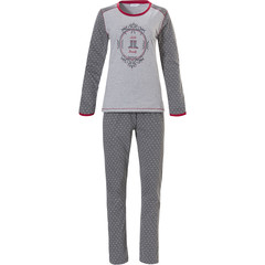 Pastunette long sleeve mid grey pyjama set 'morning beauty dotty welly boots'