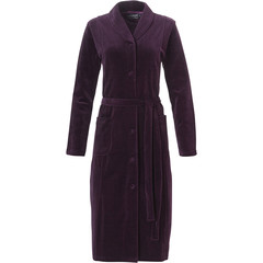 Pastunette Deluxe ladies luxury full button rich bordeaux velvet morninggown with belt