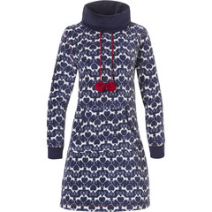 Rebelle zachte fleece homedress / lounge dress met rolkraag en pompoms 'reindeer friends' patroon