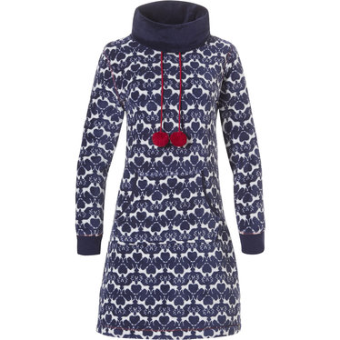 Rebelle soft fleece home lounge dress with roll neck & pom poms 'reindeer friends pattern'