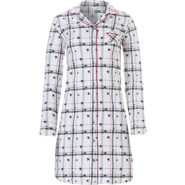 Rebelle long sleeve full button cotton french terry nightdress 'stars & checkered stripes'