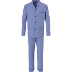 Robson men's long sleeve 100% cotton flannel full button cadet blue  pyjama with long matching pants 'circles & squares'