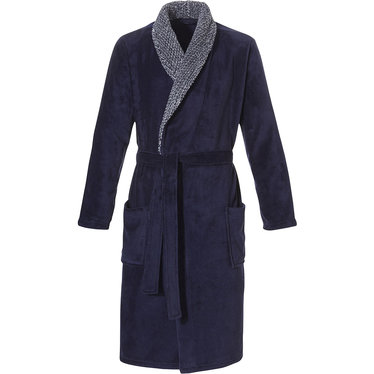 Pastunette for Men men's soft fleece dark blue wrap-over morninggown with two pockets and textured shawlcollar