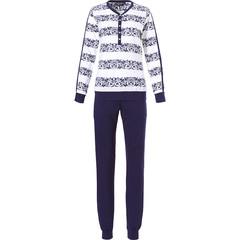 Pastunette Deluxe ladies long sleeve white & midnight blue pyjama set 'vintage elegance'