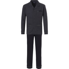 Robson men's long sleeve black caviar 100% cotton full button pyjama set with long black pants 'circles & dots'
