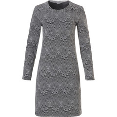 Pastunette Deluxe long sleeve jacquard fleece homewear dress 'modern herringbone pattern'