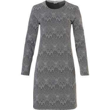 Pastunette Deluxe jacquard fleece homewear jurkje / lange trui met 'modern visgraat' patroon