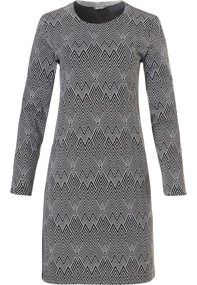 Pastunette Deluxe long sleeve jacquard fleece homewear dress 'modern herringbone pattern'