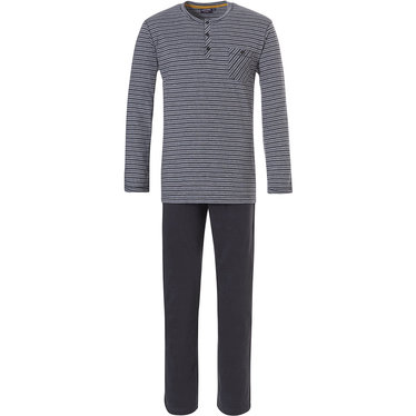 Pastunette for Men men's dark grey long sleeve 100% cotton stripey pyjama with 3 buttons and long dark grey pants 'stripes design'