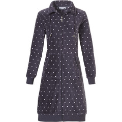 Pastunette ladies fleece morninggown with collar & zip 'a little bit dotty'