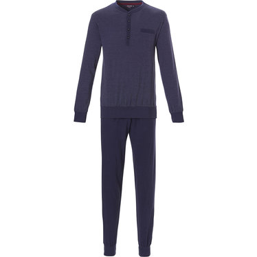 Pastunette for Men men's midnight blue 100% cotton jacquard long sleeve pyjama set with cuffs  and 4 buttons 'cool little dots'