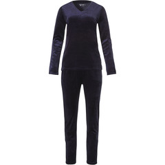 Pastunette Deluxe midnight blue long sleeve luxury velvet home lounge suit