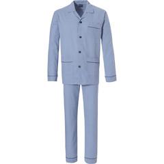 Robson 100% katoen flanellen fris blauwe doorknoop pyjama voor heren met lange bijpassende broek 'circles & squares'