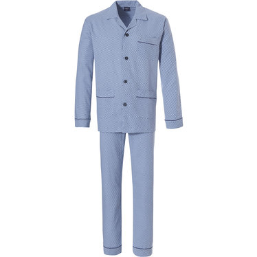 Robson men's long sleeve 100% cotton flannel full button light fresh blue pyjama with long matching pants 'circles & squares'