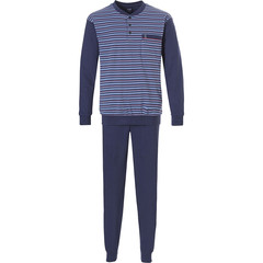 Robson men's long sleeve dark blue 100% cotton pyjama with long cuffed pants 'stripes'n'style'