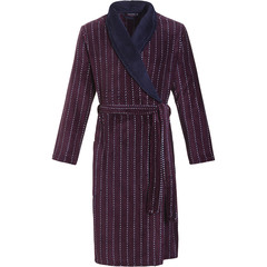 Pastunette for Men men's soft fleece maroon & midnight blue short wrap-over morninggown with belt 'cool little dots & stripes'