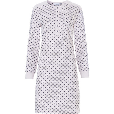 Pastunette ladies, light pink, long sleeve cotton nightdress with buttons 'geometrical art deco star'