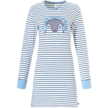 Rebelle cotton interlock stripey nightdress 'Pixie penguin' with cuffs