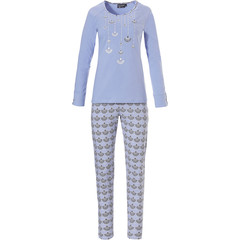 Pastunette Deluxe ladies long sleeve cotton pyjama set 'gatsby fans print/picture'