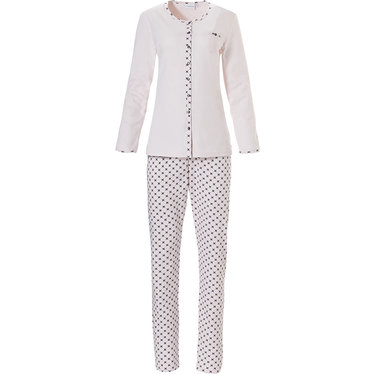 Pastunette ladies long sleeve cotton full button pyjama set 'geometrical art deco star'