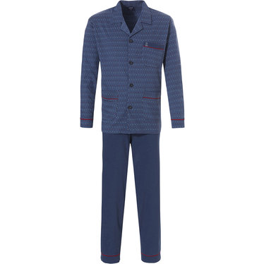 Robson men's long sleeve navy blue 100% cotton full button pyjama set with long blue pants 'circles & dots'