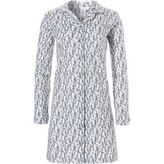Rebelle thick cotton french terry, long sleeve full button nightdress 'cute little penguins'