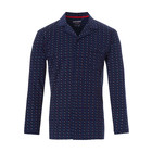 Pastunette for Men blue cotton long sleeves full button pyjama top 'trendy triangles'