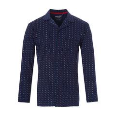 Pastunette for Men Mix & Match blue long sleeve, full button, cotton pyjama top 'trendy triangles'