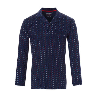 Pastunette for Men blue cotton long sleeved full button men's pyjama top ' trendy triangles'