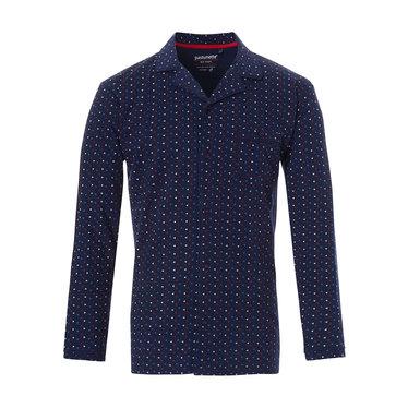 Pastunette for Men katoenen, doorknoop, blauwe heren pyjama top met lange mouwen 'trendy driehoekjes'