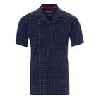 Pastunette for Men blue cotton short sleeves full button pyjama top 'trendy triangles'