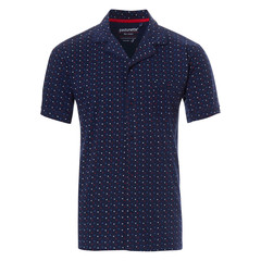 Pastunette for Men blue cotton short sleeves full button pyjama top 'trendy triangles'