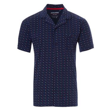 Pastunette for Men blue cotton short sleeved full button men's pyjama top ' trendy triangles'