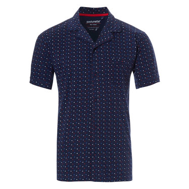 Pastunette for Men katoenen, doorknoop, blauwe pyjama top voor heren met korte mouwen 'trendy driehoekjes'