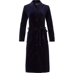 Pastunette Deluxe ladies luxury full button dark blue velvet morninggown with belt