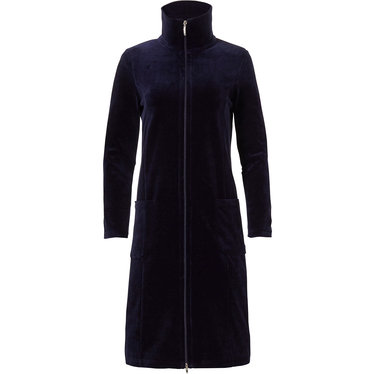 Pastunette Deluxe dark blue ladies velvet morninggown with full zip, collar and two pockets