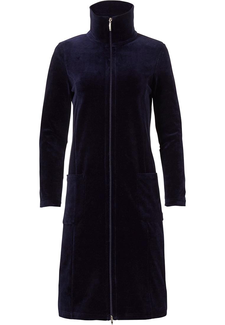 Pastunette Deluxe donkerblauwe, velours, dames ochtendjas met ritsluiting