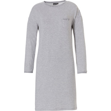 Pastunette Deluxe ladies, long sleeve grey & white, stripey nightdress with round neck and chest pocket