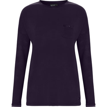 Pastunette Deluxe ladies, long sleeve, dark blue Mix & Match lounge-style pyjama top with round neck and chest pocket