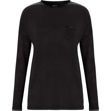 Pastunette Deluxe ladies, long sleeve, black Mix & Match lounge-style pyjama top with round neck and chest pocket