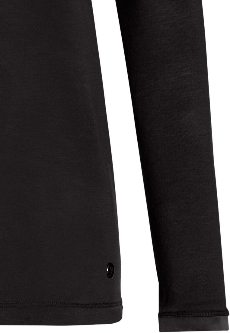 Pastunette Deluxe zwarte Mix & Match dames pyjama top met lange mouwen, ronde hals en borstzakje
