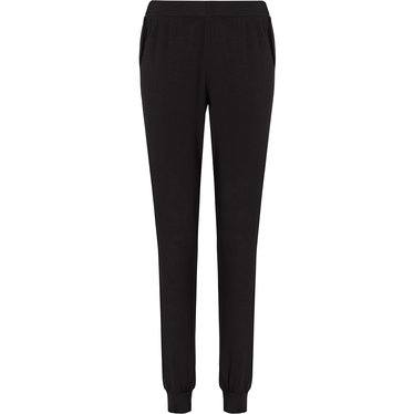 Pastunette Deluxe ladies Mix & Match black, lounge-style long pyjama pants with cuffs and side pockets