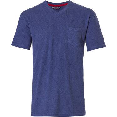 Pastunette for Men blauwe Mix & Match heren pyjama top met korte mouwen, v-hals en borstzakje
