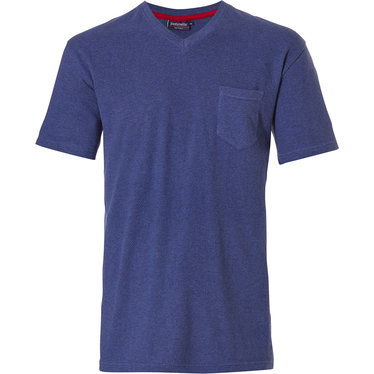 Pastunette for Men Mix & Match dark blue men's t-shirt style pyjama top with v-neck and chest pocket - Mix it up with Pastunette for Men!