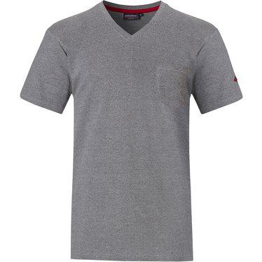 Pastunette for Men grijze Mix & Match heren pyjama top met korte mouwen, v-hals en borstzakje